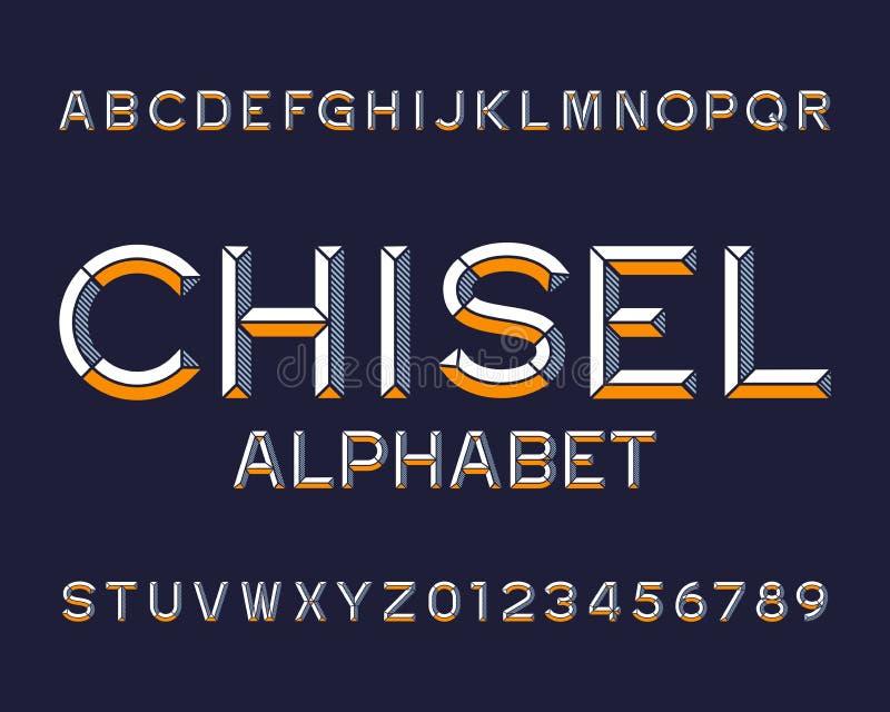 Fonte di alfabeto dello scalpello Scriva le lettere ed i numeri a macchina illustrazione di stock