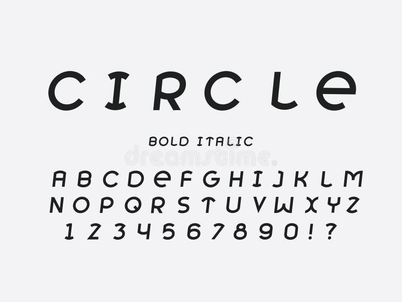 Fonte di grassetto corsivo del cerchio Alfabeto di vettore illustrazione vettoriale
