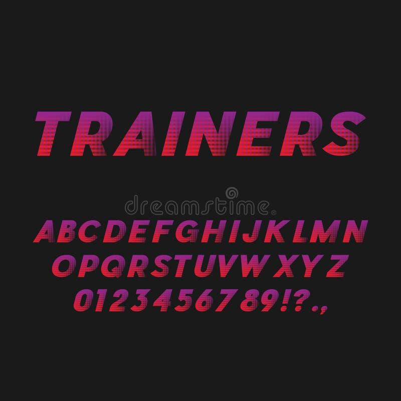 Fonte di grassetto corsivo di stile di sport Senza Serif Typeface illustrazione di stock