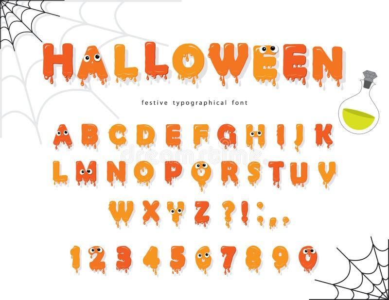 Fonte di Halloween per i bambini Lettere e numeri arancio di Pumking illustrazione vettoriale