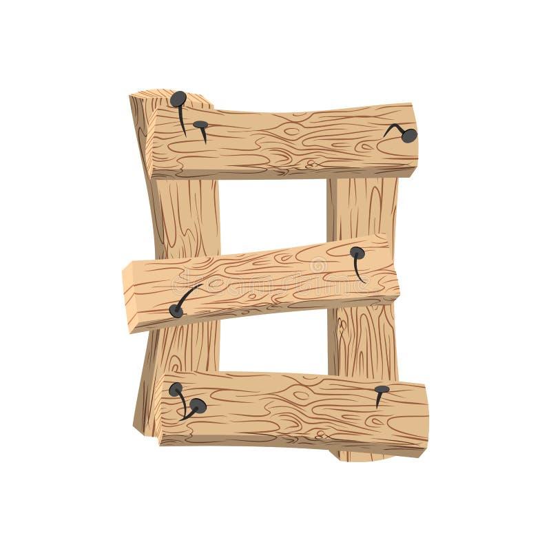 Fonte di legno del bordo di numero 8 Alfabeto della plancia e dei chiodi di otto simboli royalty illustrazione gratis