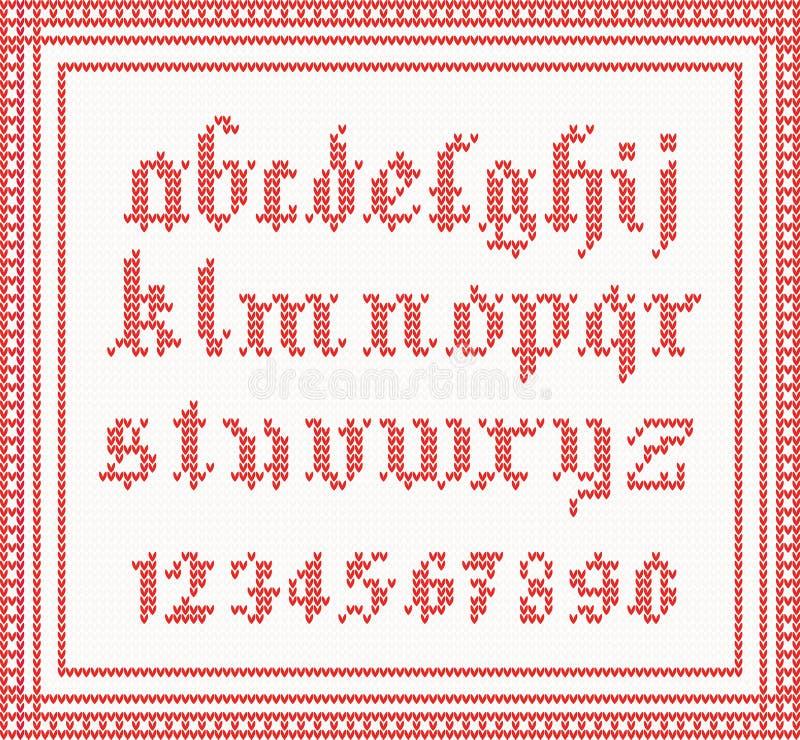 Fonte di Natale: alfabeto gotico tricottato nel colore rosso illustrazione vettoriale