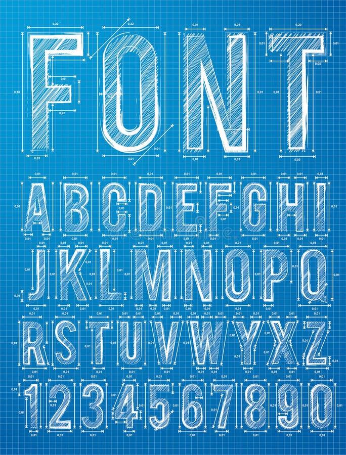 Fonte di progettazione di alfabeto di piano royalty illustrazione gratis