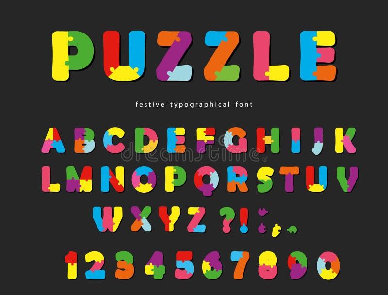 Fonte di puzzle Lettere creative variopinte e numeri di ABC su un fondo nero illustrazione vettoriale