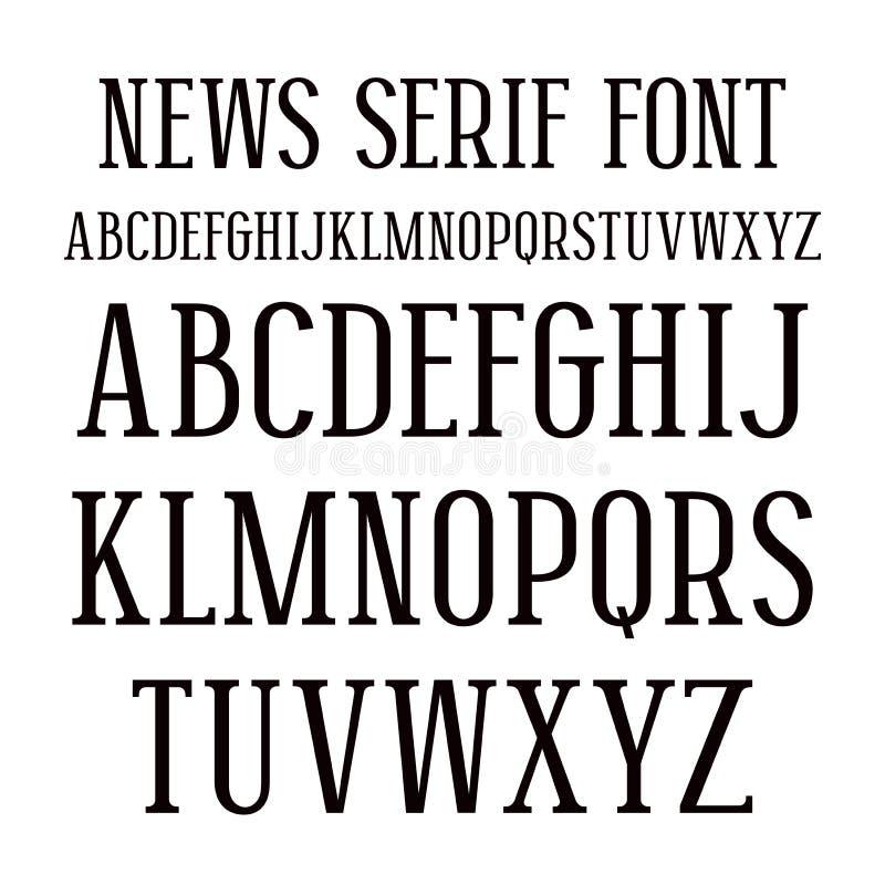 Fonte di Serif nello stile del giornale royalty illustrazione gratis