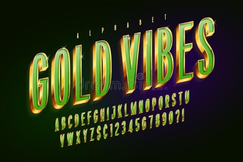 Fonte di verde dorato 3d, lettere dell'oro e numeri lucidi illustrazione di stock