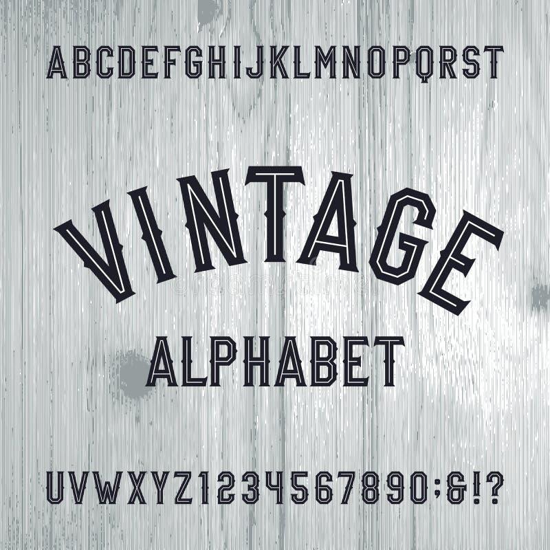 Fonte di vettore d'annata di alfabeto di stile Lettere e numeri sui precedenti di legno leggeri illustrazione di stock