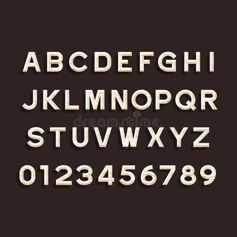 Fonte di vettore di legno di alfabeto Scriva le lettere ed i numeri a macchina illustrazione vettoriale