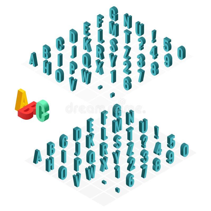 fonte di vettore isometrica di alfabeto 3d Lettere, numeri e simboli isometrici Tipografia di riserva tridimensionale di vettore  illustrazione di stock