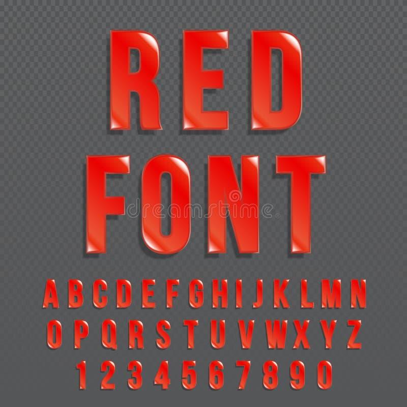 Fonte di vettore lucida rossa o alfabeto rosso Carattere colorato rosso Illustrazione tipografica di alfabeto colorata rosso royalty illustrazione gratis