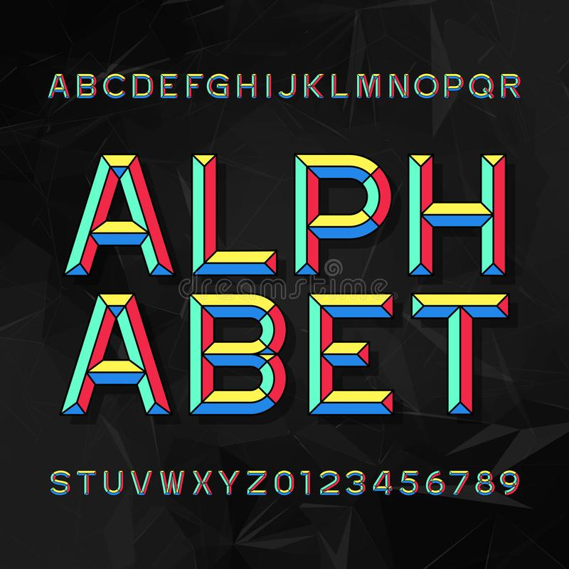 Fonte di vettore variopinta di alfabeto dello scalpello Scriva le lettere ed i numeri a macchina fondo poligonale scuro illustrazione vettoriale