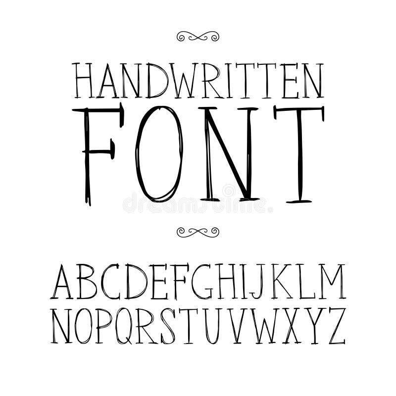 Fonte disegnata a mano dei caratteri tipografici con grazie royalty illustrazione gratis