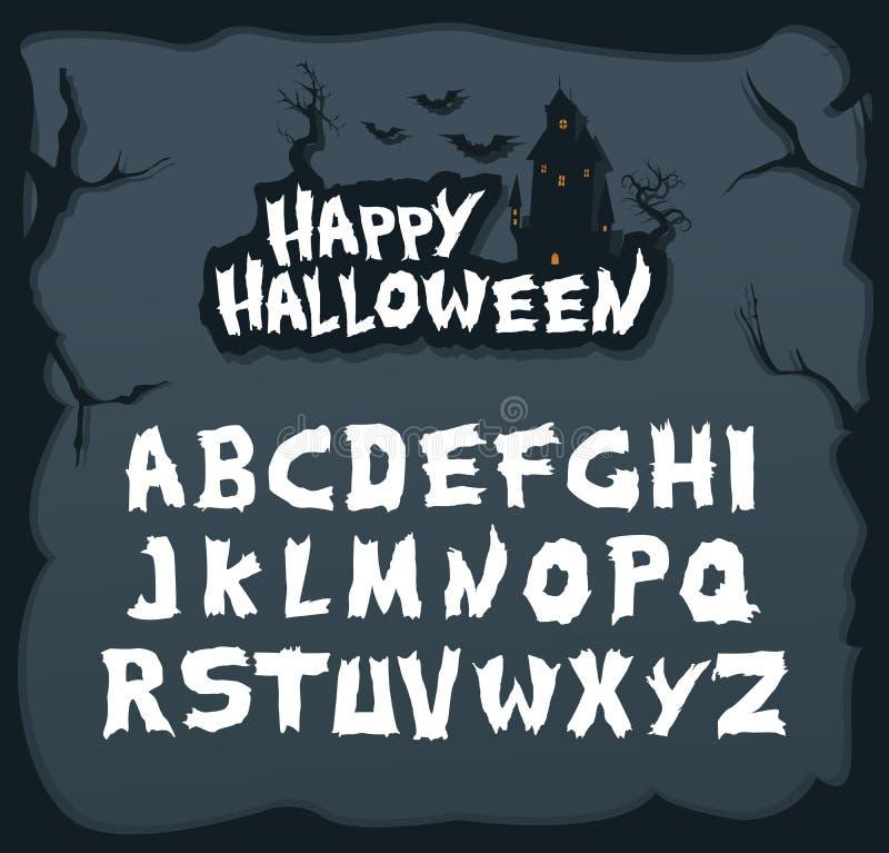 Fonte disegnata a mano dello scritto per Halloween e gli oggetti spettrali unico royalty illustrazione gratis