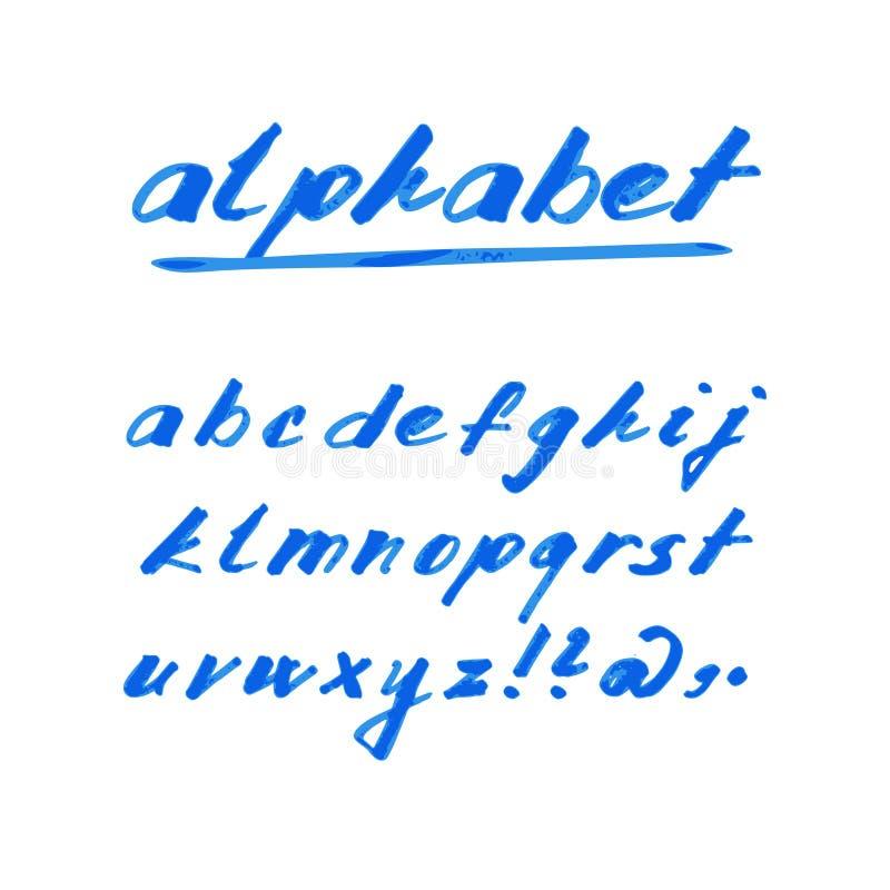 Fonte disegnata a mano di alfabeto, dell'indicatore o dell'inchiostro illustrazione di stock