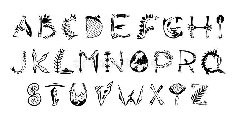 Fonte disegnata a mano di arte Lettere sveglie di paleontologia illustrazione vettoriale