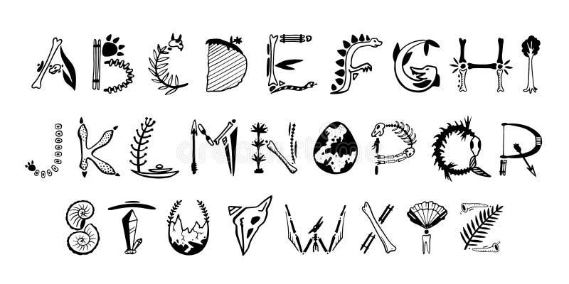 Fonte disegnata a mano di arte di vettore Lettere sveglie di paleontologia royalty illustrazione gratis