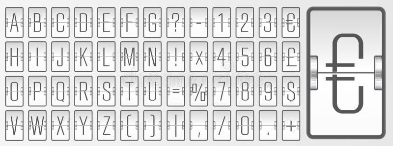 Fonte do ABC do placar do estilo do inverno com números para mostrar a partida do voo, o destino ou a informação da chegada ilustração do vetor
