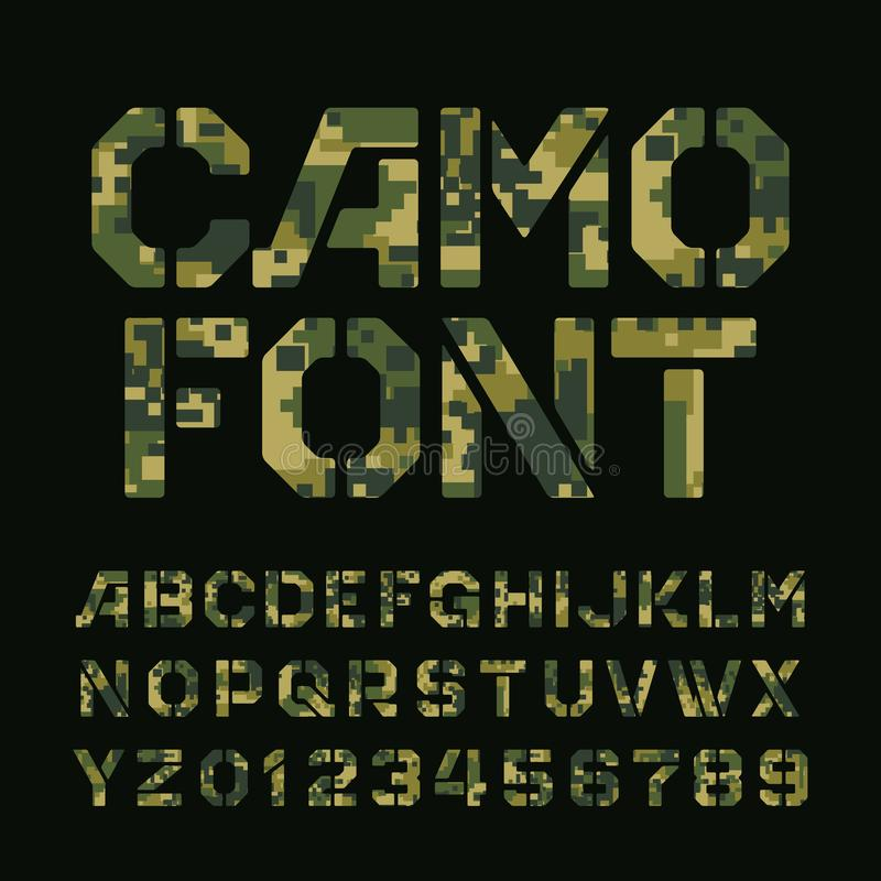 Fonte do alfabeto do camo do pixel Tipo letras e números do estêncil em um fundo escuro ilustração do vetor
