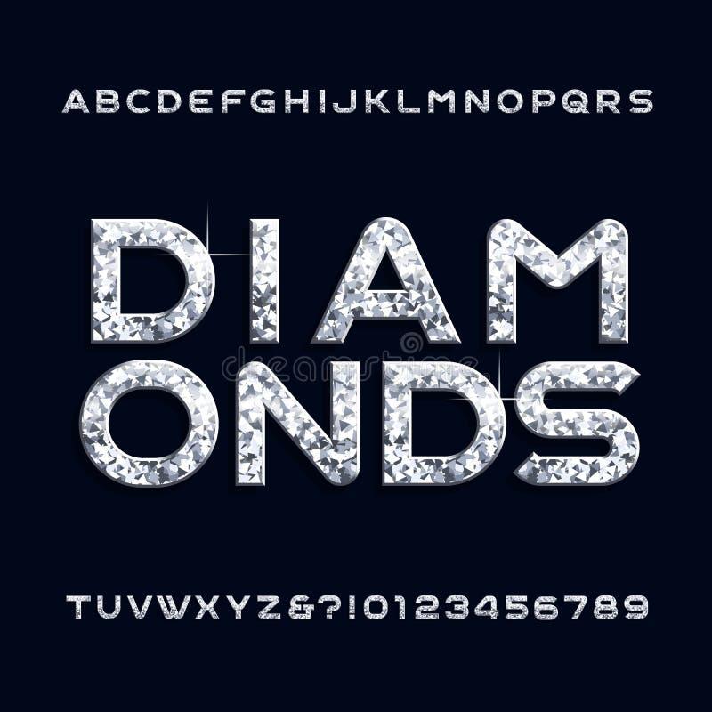 Fonte do alfabeto do diamante Letras e números da joia ilustração do vetor
