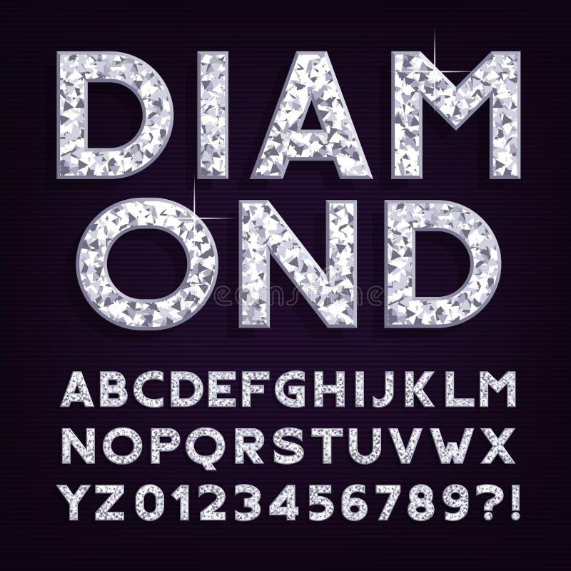 Fonte do alfabeto do diamante Letras e números luxuosos da joia ilustração royalty free