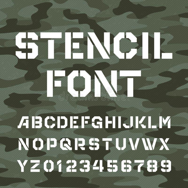 Fonte do alfabeto do estêncil Datilografe letras e números ilustração do vetor