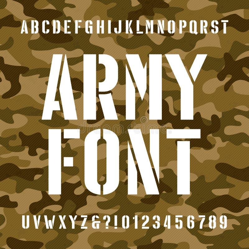 Fonte do alfabeto do estêncil do exército Datilografe letras e números no fundo sem emenda afligido do camo ilustração royalty free