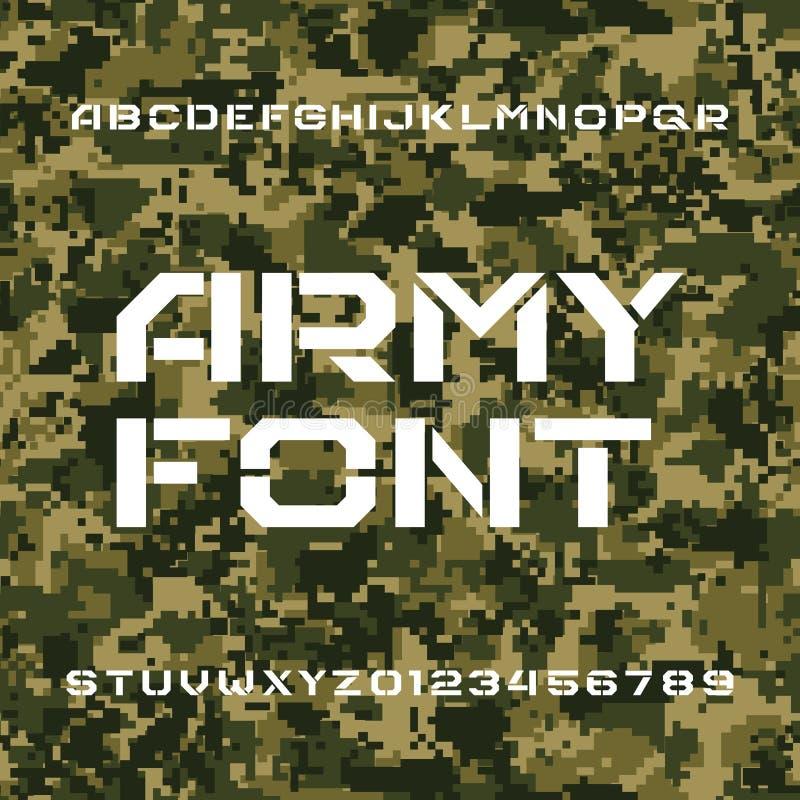 Fonte do alfabeto do exército Escreva o tipo letras e números em um fundo sem emenda do camo do pixel ilustração stock
