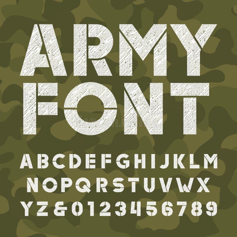 Fonte do alfabeto do exército Tipo corajoso riscado letras e números no fundo do camo ilustração do vetor
