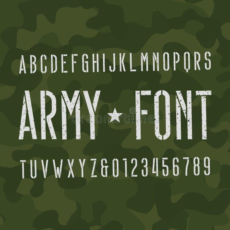 Fonte do alfabeto do exército Tipo riscado letras e números no fundo do camo ilustração do vetor