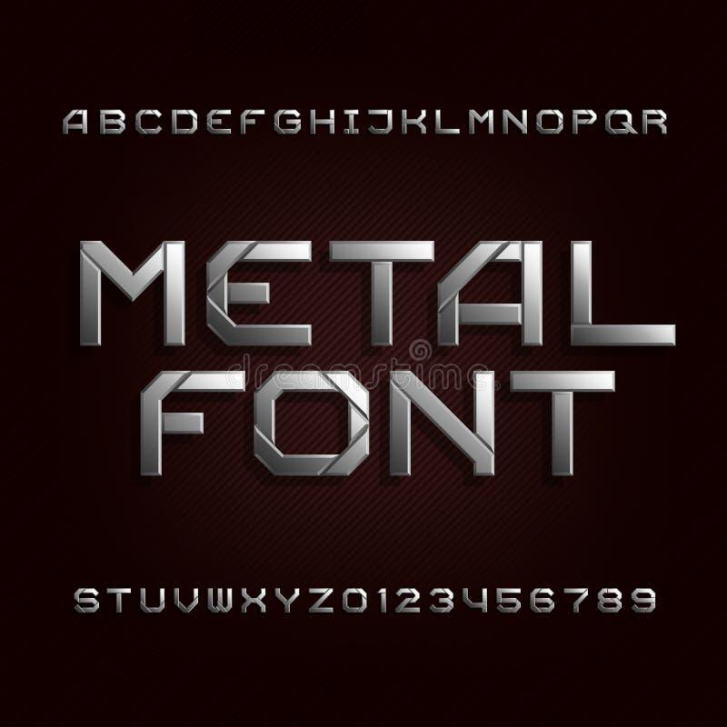 Fonte do alfabeto do metal Letras e números do efeito de Chrome em um fundo escuro ilustração do vetor