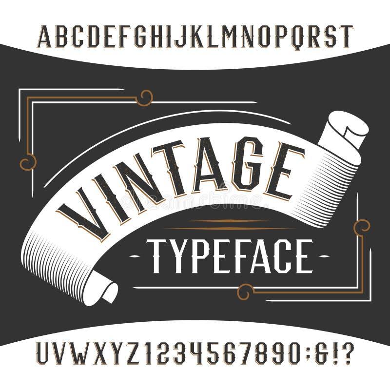 Fonte do alfabeto do vintage Letras e números do efeito da oxidação ilustração royalty free