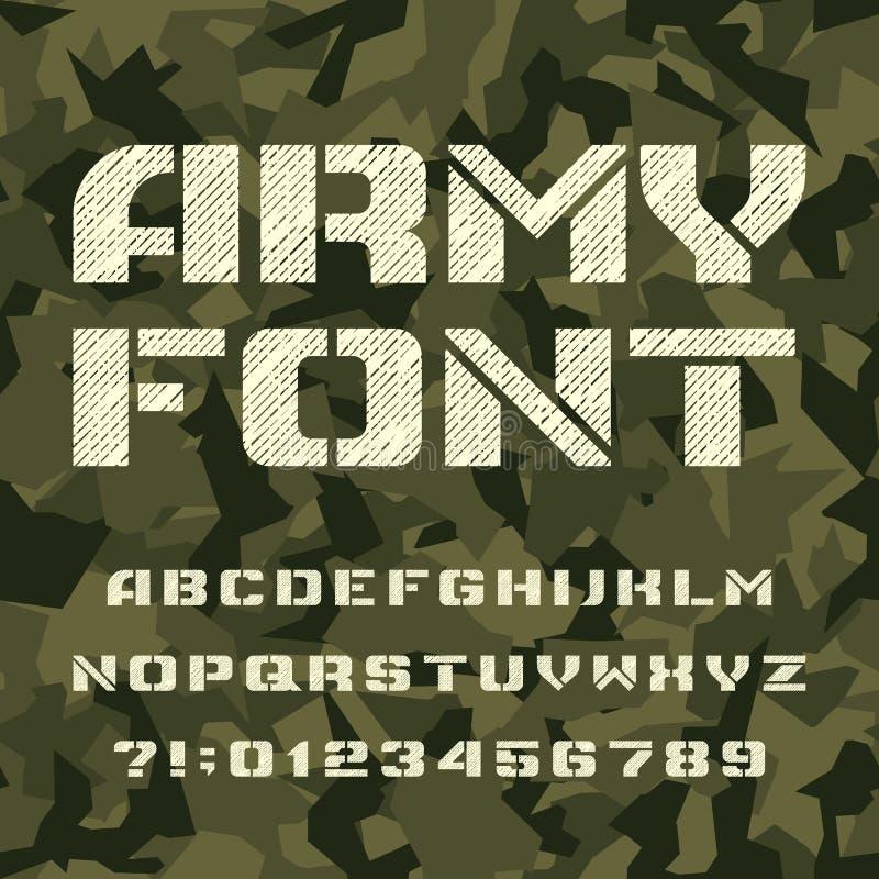 Fonte do alfabeto do estêncil do exército Tipo letras e números em um fundo sem emenda do camo ilustração do vetor