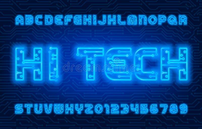 Fonte do alfabeto Hi-Tech Letras e números de cor neon ilustração do vetor