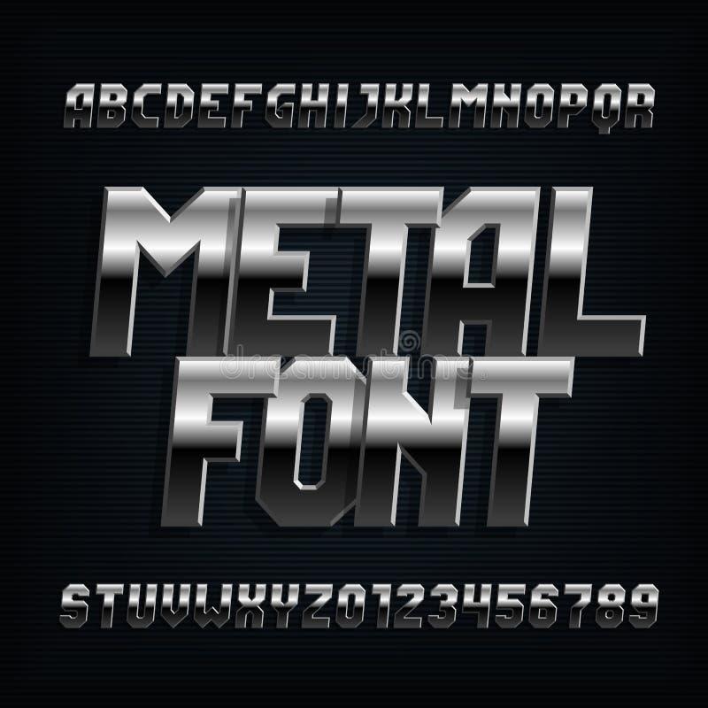 Fonte do alfabeto do metal Letras, números e símbolos oblíquos do efeito de Chrome ilustração do vetor
