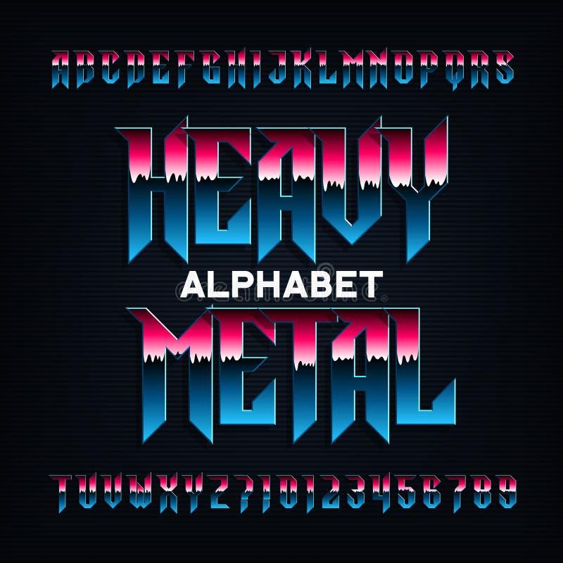 Fonte do alfabeto do metal pesado Metal letras, números e símbolos chanfrados efeito ilustração do vetor