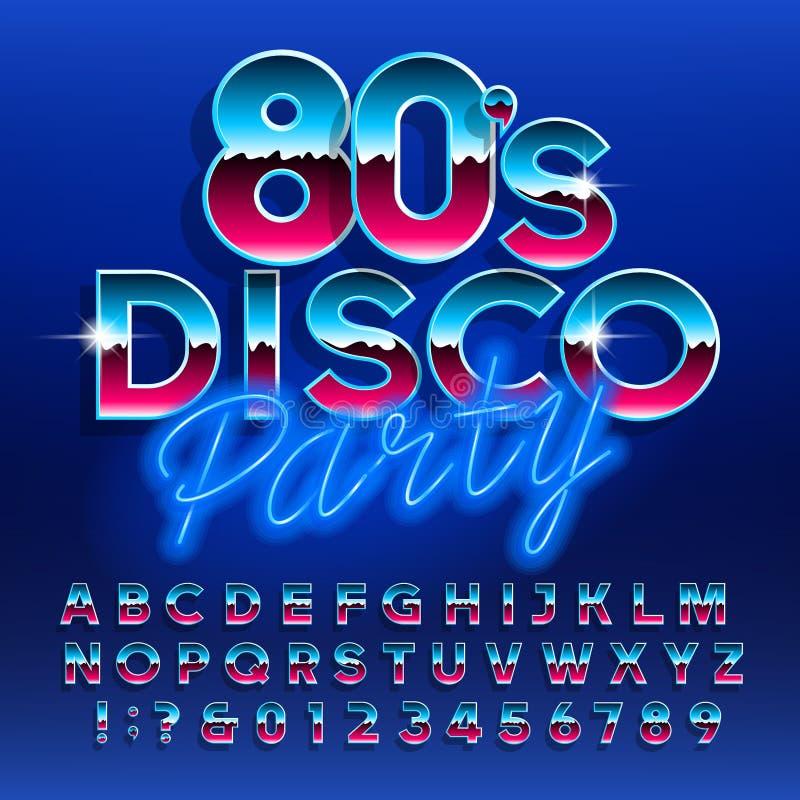 fonte do alfabeto do partido de disco dos anos 80 Letras e n?meros ilustração royalty free