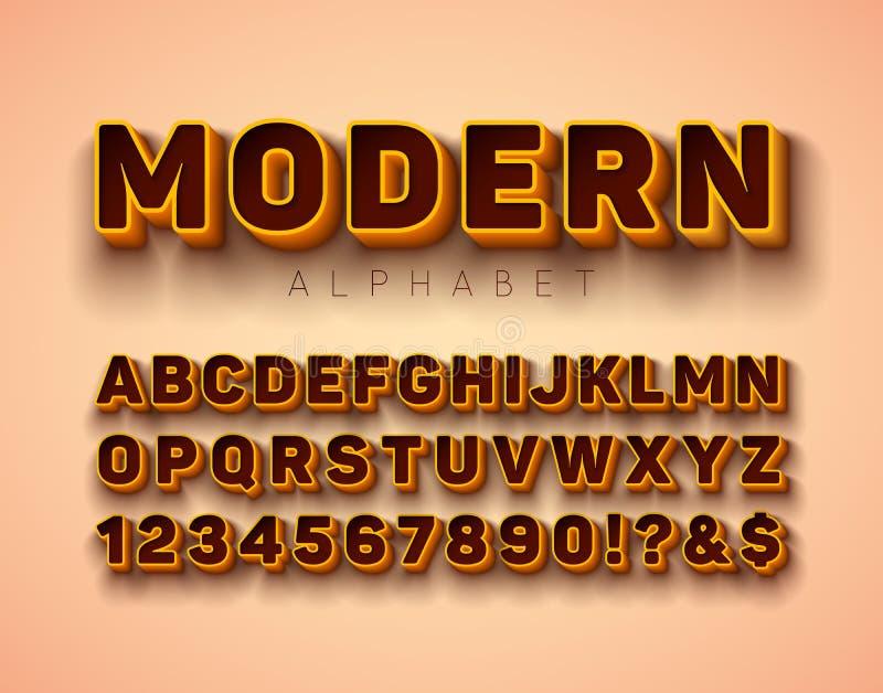 Fonte do alfabeto do vetor 3d com quadro e sombra no fundo vermelho Coleção moderna com ABC, número do projeto do caráter tipo e ilustração stock