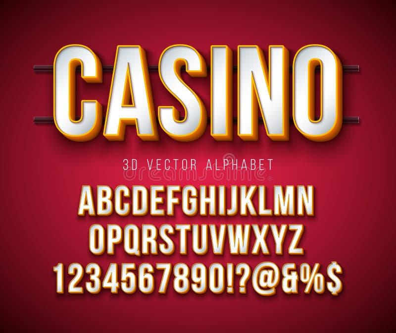 Fonte do alfabeto do vetor 3d com quadro e sombra no fundo vermelho Coleção moderna com ABC, número do projeto do caráter tipo e ilustração royalty free