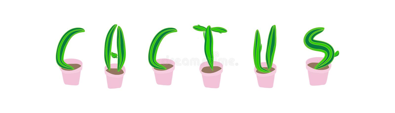 Fonte do cacto Letra botânica suculento ilustração do vetor