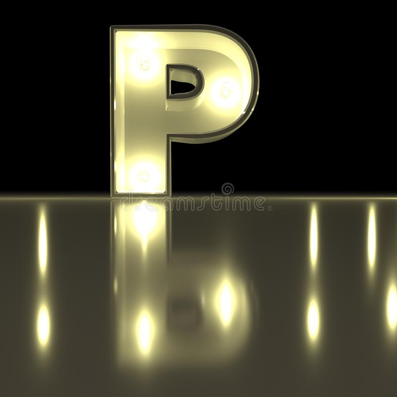 Fonte do caráter P com reflexão Alph de incandescência da letra da ampola ilustração do vetor