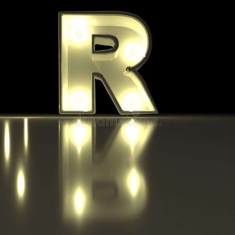 Fonte do caráter R com reflexão Alph de incandescência da letra da ampola ilustração royalty free