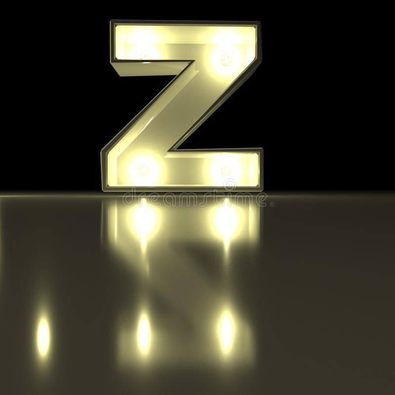 Fonte do caráter Z com reflexão Alph de incandescência da letra da ampola ilustração royalty free