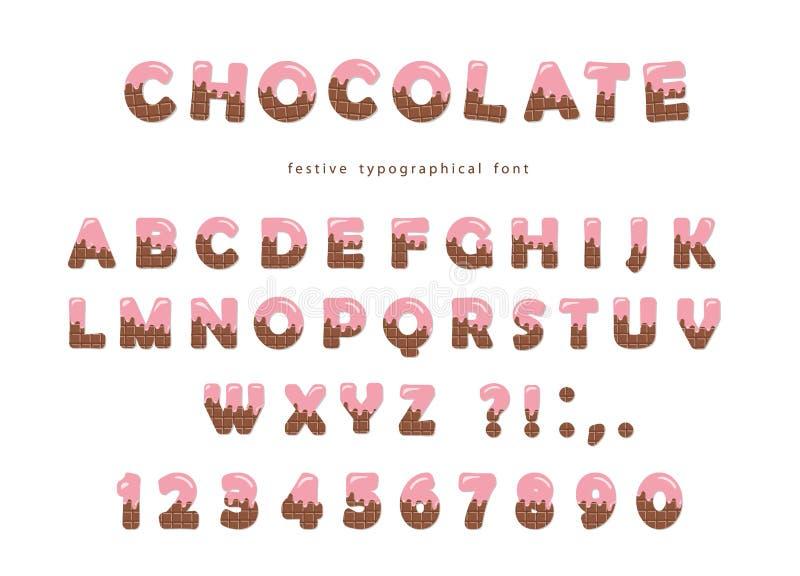 Fonte do chocolate As letras bonitos e os números podem ser usados para o cartão de aniversário, festa do bebê, dia de Valentim,  ilustração royalty free