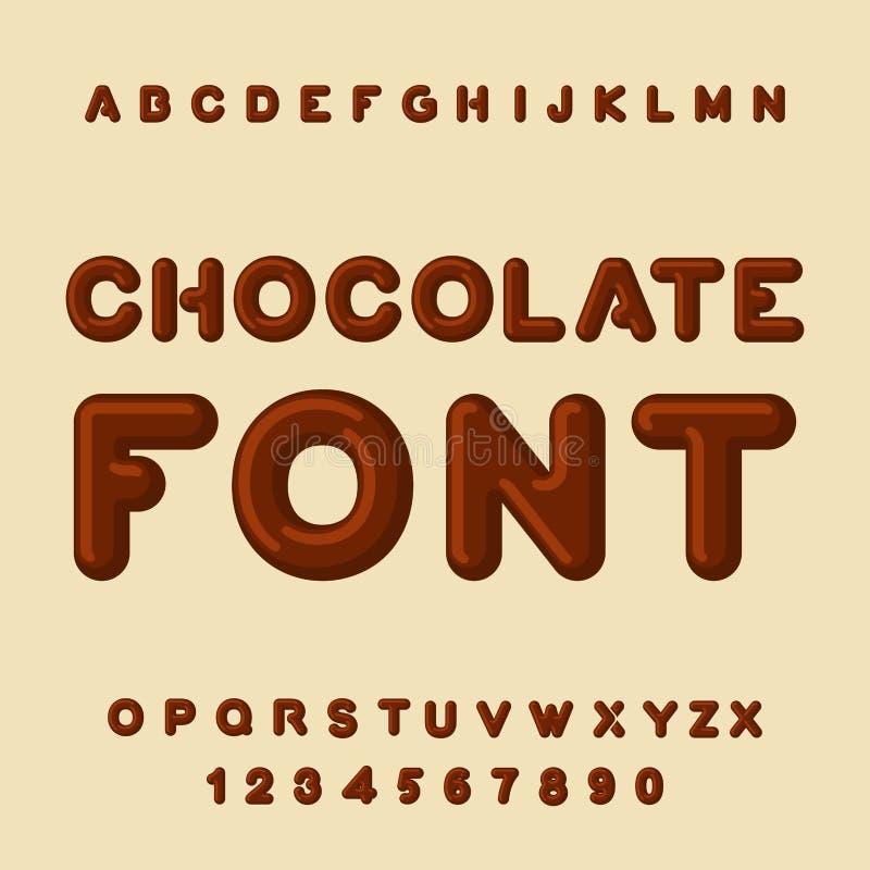 Fonte do chocolate Sobremesa ABC Alfabeto doce Letra de Brown Confe ilustração stock