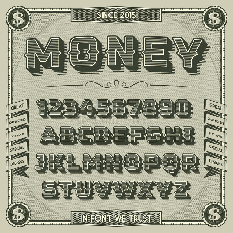 Fonte do dinheiro do vintage com sombra ilustração royalty free