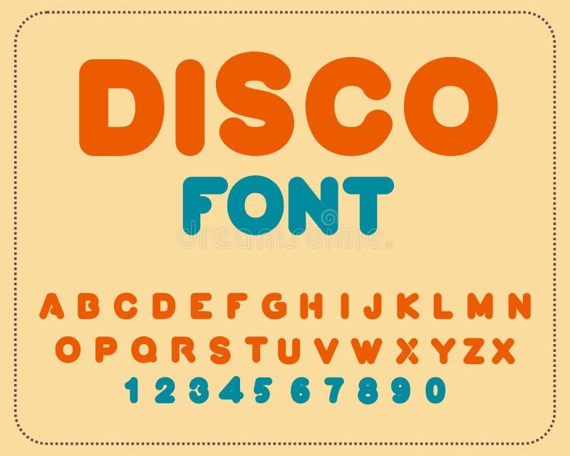 fonte do disco Alfabeto retro Alfabeto arredondado vintage Rotula o franco ilustração stock