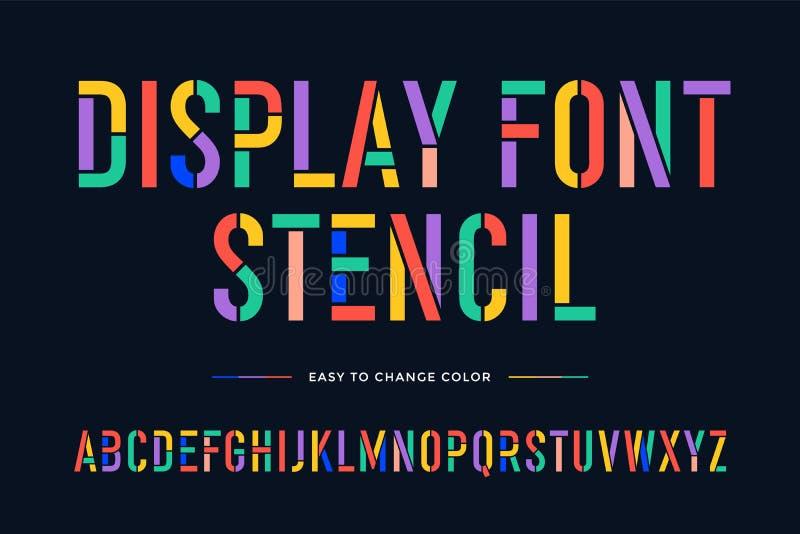 Fonte do estêncil Alfabeto e fonte condensados coloridos ilustração stock