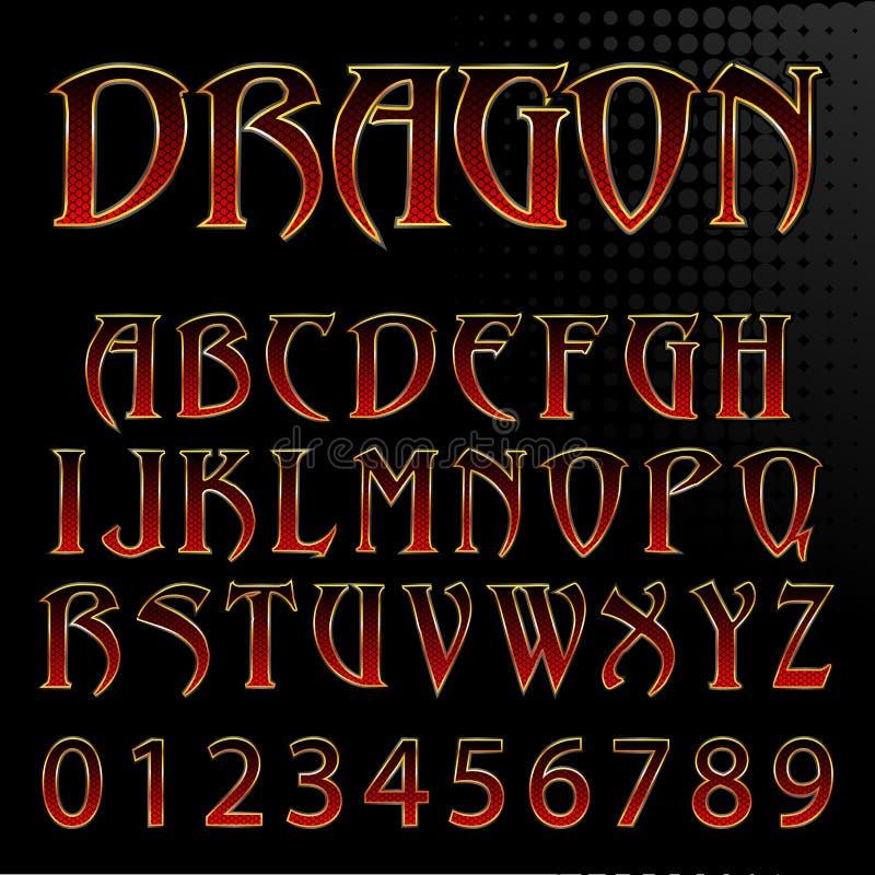 Fonte do estilo do dragão do vetor