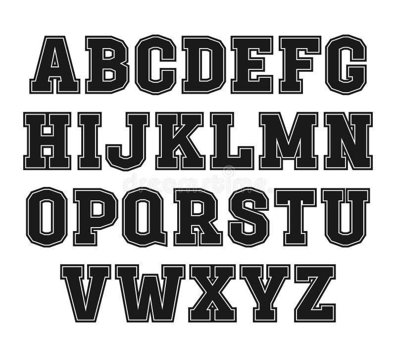 fonte do Laje-serif ao estilo da faculdade ilustração do vetor