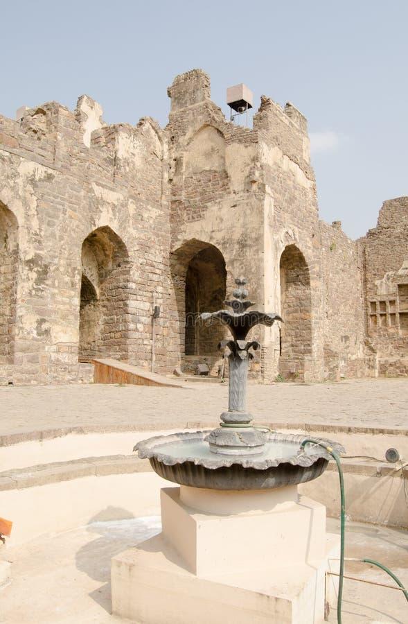 Fonte Do Pátio, Forte De Golcanda Fotos de Stock Royalty Free